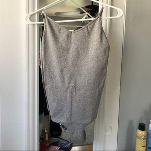 Free People Gray Bodysuit